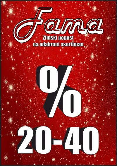 ZIMSKI POPUST 20-40% NA ODABRANI ASORTIMAN